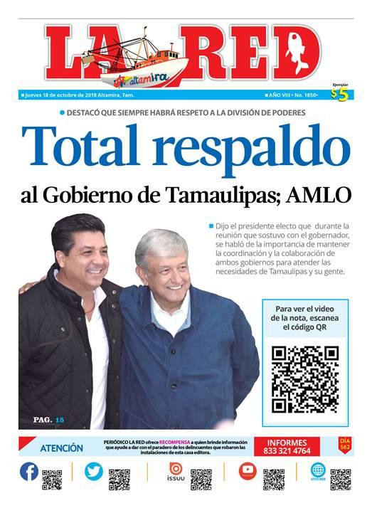 Total respaldo al Gobierno de Tamaulipas; AMLO
