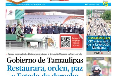 Gobierno de Tamaulipas restaurará, orden, paz y Estado de derecho