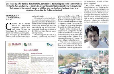 Campesinos paralizarán hoy carreteras en Tamaulipas