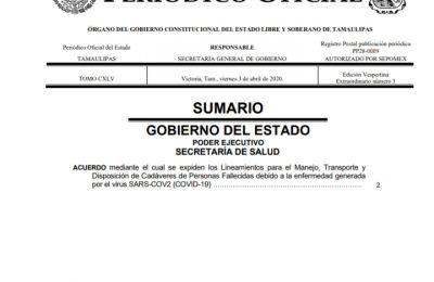 LOS CADAVERES DE PERSONAS MUERTAS POR COVID-19 SERAN INCINERADAS